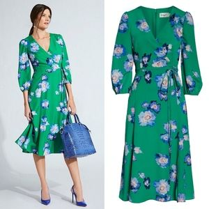ELIZA J Green Blouson Sleeve Wrap Midi Dress 10P